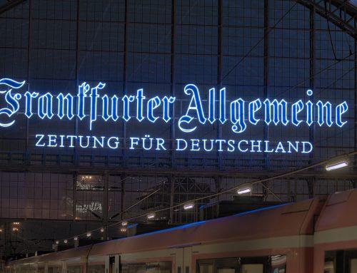 Neon Schriftzug Frankfurter Allgemeine